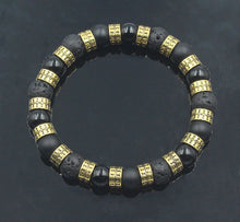 Load image into Gallery viewer, Black Onyx, Lava Stone and Gold Bracelet