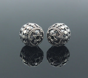 Two 12mm Handmade Sterling Silver Beads