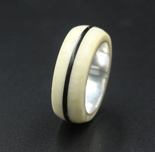 Sterling Silver and Cow Bone Ring