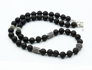 Lava Stone and Sterling Silver Bali Beads