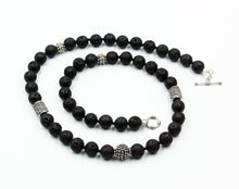 Load image into Gallery viewer, Lava Stone and Sterling Silver Bali Beads