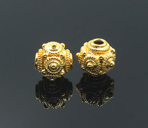 Two 10mm Gold Vermeil Bali Beads