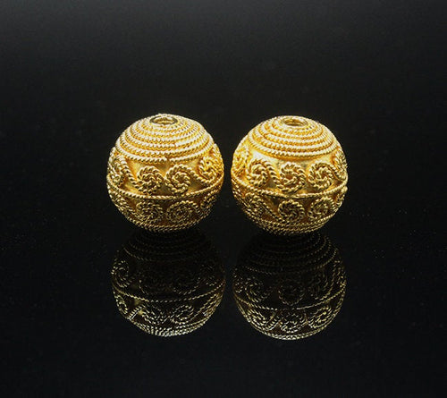 Two 14mm Gold Vermeil Bali Beads