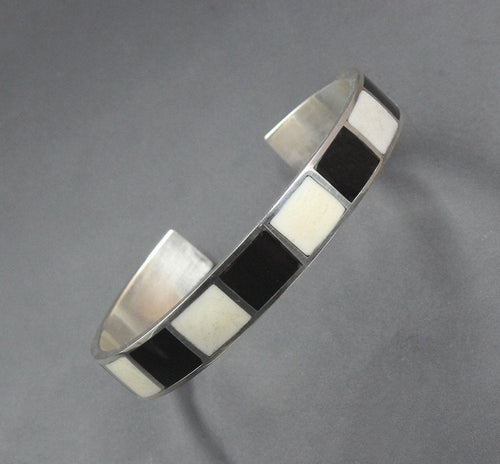 Black and White Buffalo Horn and Sterling Silver