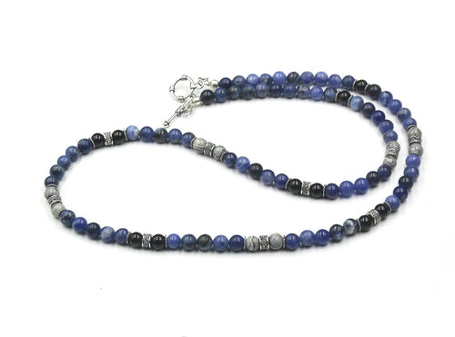 Sodalite, Onyx, and Grey Jasper