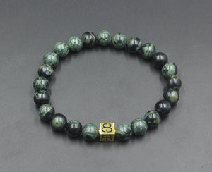 Dark Green Jade and Gold Vermeil