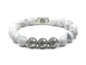 Matte White Howlite and Silver