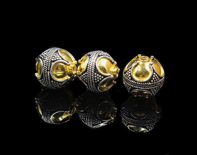 Three 12mm Sterling Silver and Gold Vermeil Beads