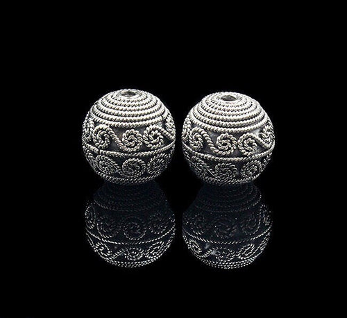 Two 14mm Sterling Silver Bali Beads