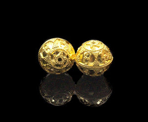 Two 16mm Gold Vermeil Bali Beads