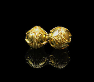 Two 12mm Gold Vermeil Bali Beads