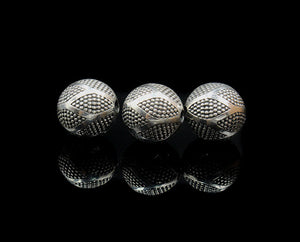 Three 12mm Sterling Silver Bali Beads