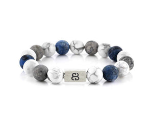 Howlite, Sodalite, and Grey Jasper