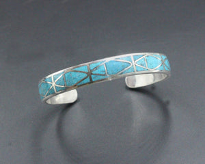 Turquoise and Sterling Silver Cuff Bracelet, Silver Cuff Bracelet, Turquoise Inlay Cuff Bracelet, Cuff Bracelet, Turquoise Cuff Bracelet