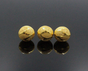 Three 12mm 22 Karat Gold Vermeil Beads