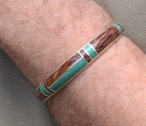 Malachite and Coconut Wood Silver Cuff