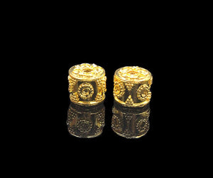 Two 10mm x 9mm Gold Vermeil Beads