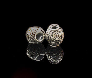Two 11/12mm Large Hole Sterling Silver Beads