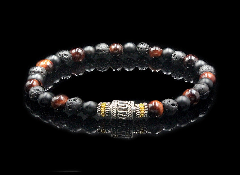 Red Tiger's Eye, Lava, and Onyx