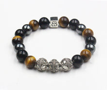 Load image into Gallery viewer, Tiger's Eye, Onyx, and Hematite Bracelet, Men's Bracelet, Men's Silver Bracelet, Men's Designer Bracelet, Men's Luxury Bracelet