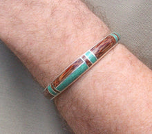 Load image into Gallery viewer, Malachite and Coconut Wood Silver Cuff