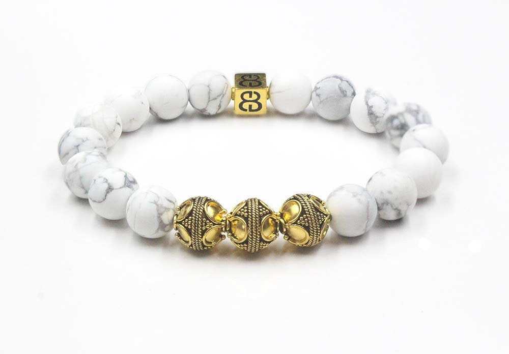 Matte White Howlite and Gold