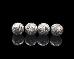 Four x 10mm Sterling Silver Beads