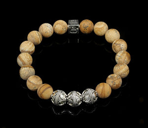 Men's Matte Picture Jasper Bracelet, Jasper and Sterling Silver Bracelet, Beaded Bracelet, Guy's Bracelet, Male Bracelet, Beaded Bracelet