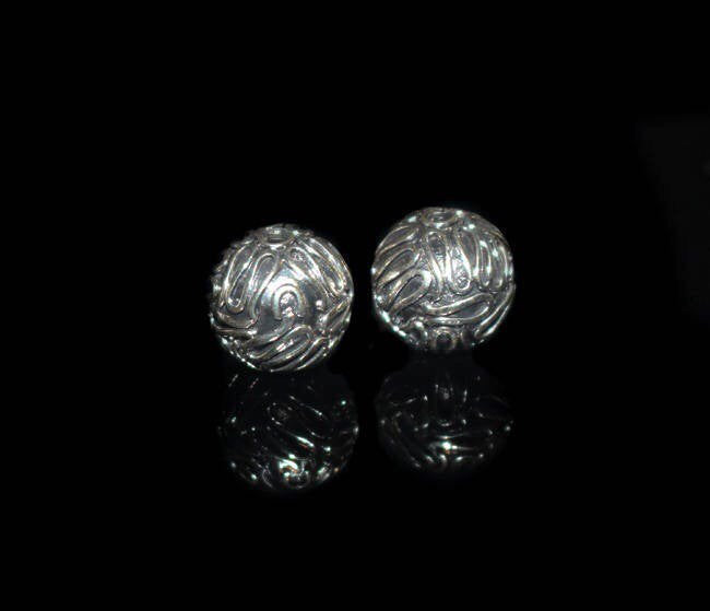 Two 12mm Sterling Silver Wire Work Beads
