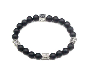 Matte Black Onyx and Silver Beads