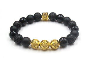 Black Onyx, Lava  and Gold
