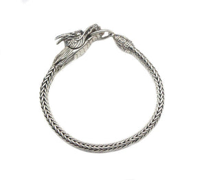 Sterling Silver Dragon Bracelet, 7mm Sterling Silver Chain Bracelet, Mens Silver Bracelet, 7mm Silver Chain Bracelet, Silver Dragon