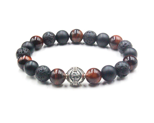 Red Tiger's Eye, Lava, and Matte Black Onyx