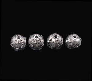 Four Sterling Silver Bali Bead Caps, 10mm.