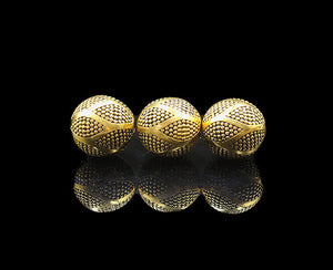 Three x 12mm Gold Plated Sterling Silver Beads