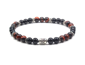 Black Onyx, Red Tiger's Eye and Sterling Silver