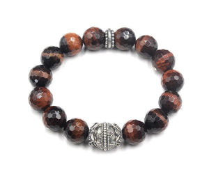 Faceted Red Tiger's Eye and Silver