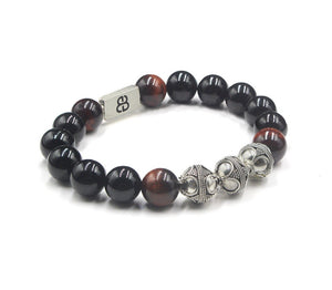 Onyx, Red Tiger's Eye and Sterling Silver