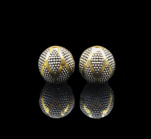 Two x 12mm Sterling Silver and 22K Gold Beads,
