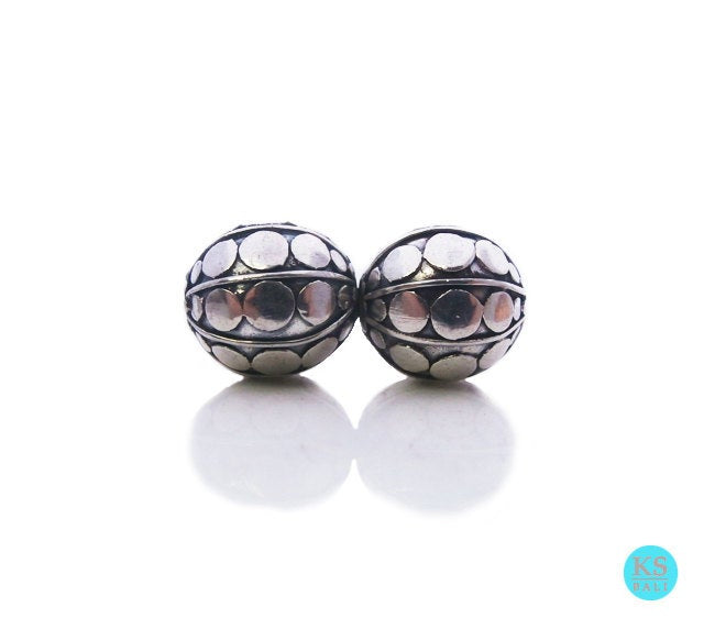 Two 10mm 925 Sterling Silver Bali Beads