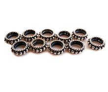 Load image into Gallery viewer, Ten x 8mm Sterling SilverRope Ring Spacer Beads,