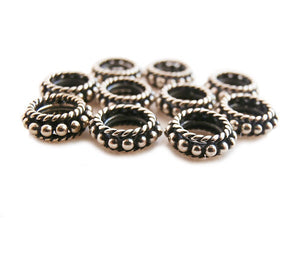 Ten x 8mm Sterling SilverRope Ring Spacer Beads,