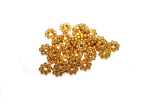 50pcs  Gold Vermeil Bali Daisy Spacers, 3mm,4mm, 5mm, 6mm