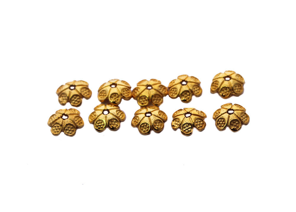 10pcs x 22K Gold Vermeil Bali Bead Caps, 10mm