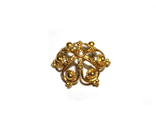 Gold Vermeil Beads Cap, 20mm