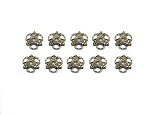 Ten x Bright Sterling Silver Bali Bead Caps, 10mm