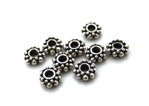 20pcs Sterling Silver Rondelle Spacer Beads, 5mm, 6mm, 7mm, 10mm