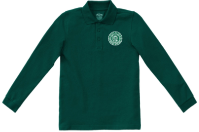 Youth Green Long Sleeve Polo