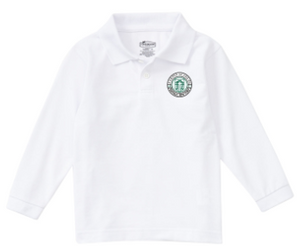 Youth White Long Sleeve Polo