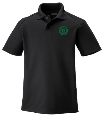Youth Black Performance Short Sleeve Polo